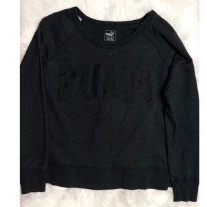 Dark Gray Wide Neck Puma Sweater